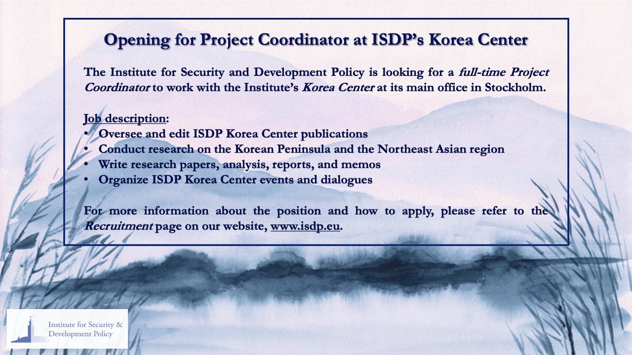 Opening for Project Coordinator at ISDP's Korea Center